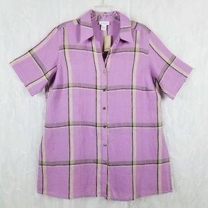 Avenue Sz 14/16 Linen Button Up Plaid Purple Top